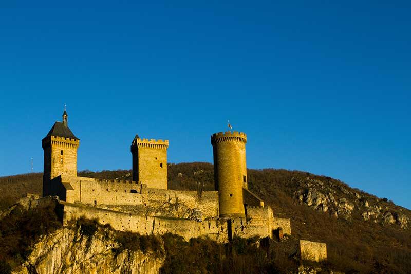Coucher du soleil sur château de Foix