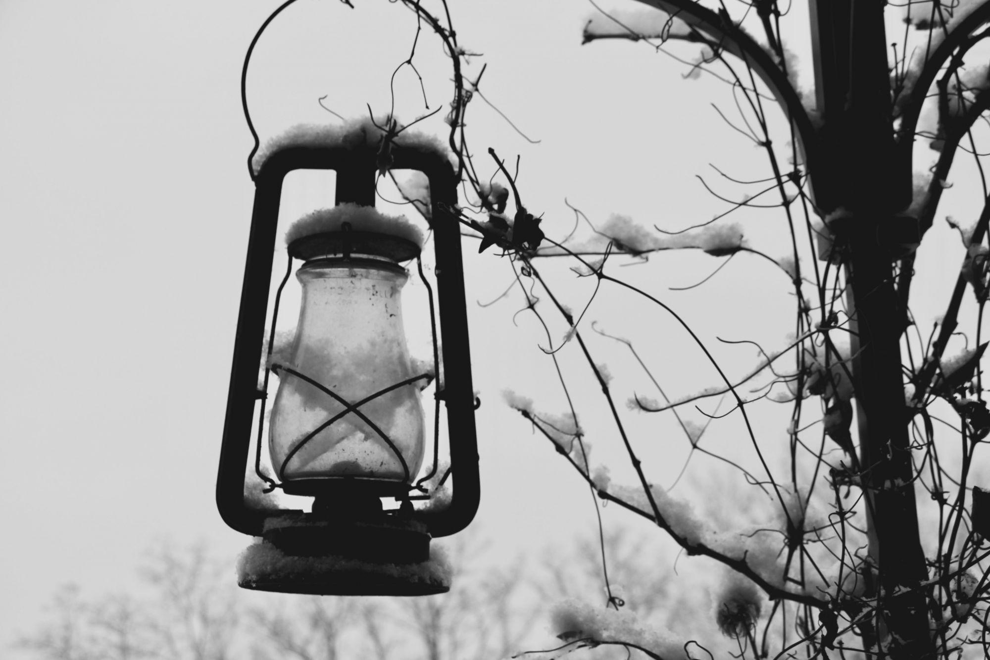 Lampe sous la neige
